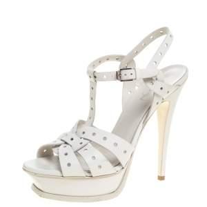 Saint Laurent Paris White Perforated Leather Tribute Platform Ankle Strap Sandals Size 39