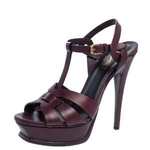 Saint Laurent Paris Dark Burgundy Leather Tribute Platform Sandals Size 38