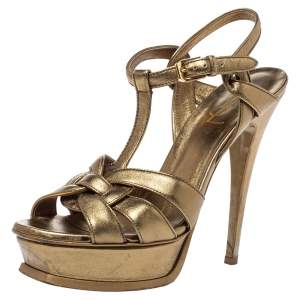 Saint Laurent Paris Metallic Bronze Leather Tribute Platform Sandals Size 37.5
