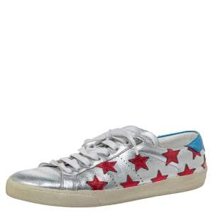 Saint Laurent Paris Metallic Silver Leather And Star Signature California Sneakers Size 42