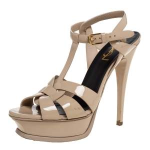 Saint Laurent Paris Beige Patent Leather Tribute Platform Sandals Size 37.5