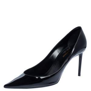 Saint Laurent Paris Black Pantet Leather Zoe Pointed Toe Pumps Size 39
