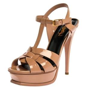 Saint Laurent Paris Beige Patent Leather Tribute Platform Sandals Size 38