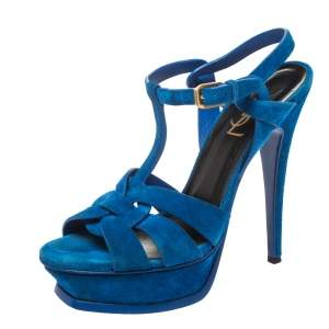 Saint Laurent Paris Blue Suede Platform Tribute Sandals Size 37