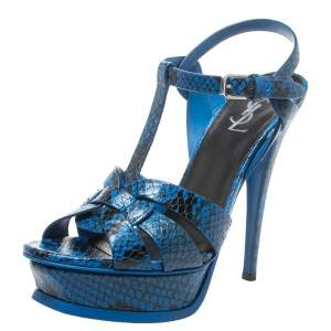 Saint Laurent Paris Blue/Black Python Effect Leather Tribute Platform Sandals Size 38.5
