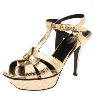 Saint Laurent Paris Metallic Gold Lizard Embossed Leather Tribute Platform Sandals Size 35