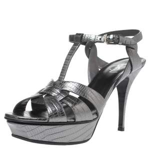 Saint Laurent Paris Metallic Lizard Embossed Leather Tribute Sandals Size 41