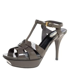 Saint Laurent Paris Olive Green Patent Leather Tribute Ankle Strap Sandals Size 41