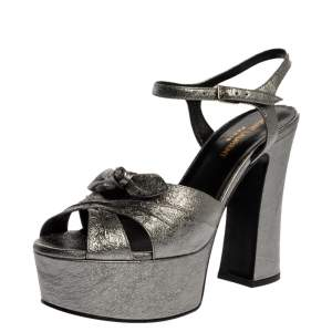 Saint Laurent Paris Silver Metallic Crinkle Leather Candy Ankle Strap Platform Sandals Size 37.5