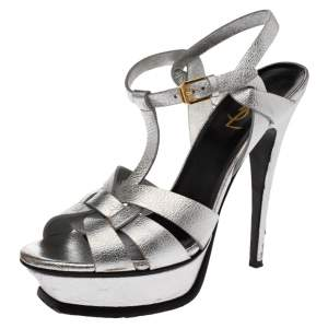 Saint Laurent Paris Metallic Silver Textured Leather Tribute Platform Sandals Size 39