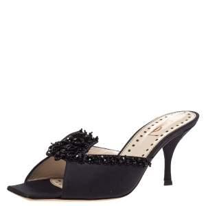 Saint Laurent Paris Black Satin Beaded Embellished Vintage Open Toe Sandals Size 38.5