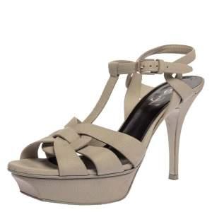 Saint Laurent Paris Off-White Leather Tribute Ankle Strap Sandals Size 38