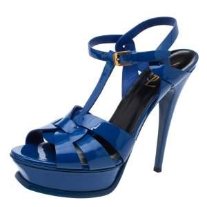 Saint Laurent Paris Blue Patent Leather Tribute Platform Sandals Size 39.5