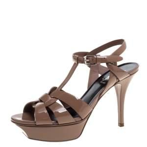 Saint Laurent Paris Brown Patent Leather Tribute Platform Sandals Size 36.5