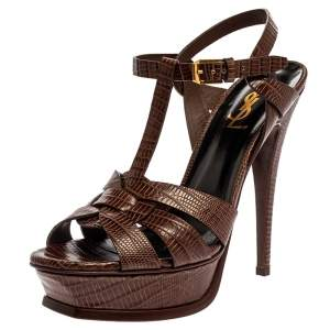 Saint Laurent Paris Brown Lizard Embossed Leather Tribute Ankle Strap Platform Sandals Size 38.5