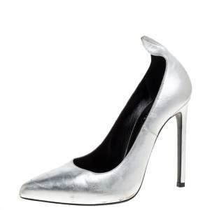 Saint Laurent Paris Silver Leather Thorn Pointed Toe Pumps Size 37