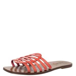 Saint Laurent Paris Red Textured Patent Leather Strappy Flat Sandals Size 39
