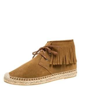 Saint Laurent Paris Brown Suede Fringe Espadrilles Sneaker Boots Size 36