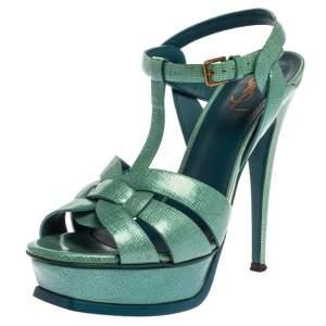 Saint Laurent Paris Blue Textured Patent Leather Tribute Sandals Size 37.5