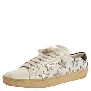 Saint Laurent Paris White/Silver Leather Star Alpha Low Top Sneakers Size 37.5