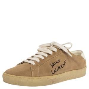 Saint Laurent Paris Light Brown Suede Court Classic Logo Sneakers Size 38