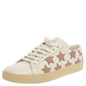 Saint Laurent Paris White/Beige Leather Star Alpha Low Top Sneakers Size 37.5