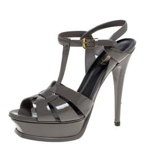 Saint Laurent Paris Grey Patent Leather Tribute Platform Sandals Size 39.5