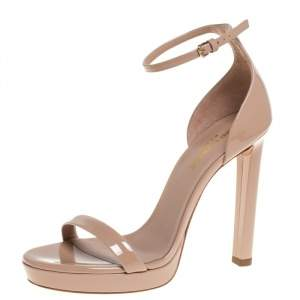 Saint Laurent Paris Beige Patent Leather Platform Ankle Strap Sandals Size 37