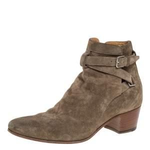 Saint Laurent Paris Olive Green Blake Jodhpur Ankle Boots Size 36