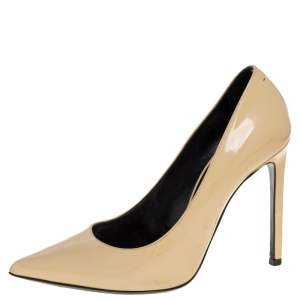 Saint Laurent Paris Beige Leather Pointed Toe Pumps Size 38