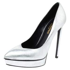 Saint Laurent Paris Metallic Silver Leather Janis Platform Pumps Size 37.5