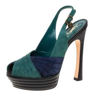 Saint Laurent Paris Green/Blue Suede and Leather Criss Cross Platform Slingback Sandals Size 38