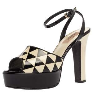 Valentino Black And White Patent Leather Peep Toe Ankle Strap Platform Sandals Size 37