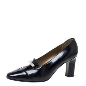 Saint Laurent Paris Black Leather Square Toe Pumps Size 38