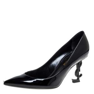 Saint Laurent Paris Black Patent Leather Opyum Pointed Toe Pumps Size 36.5