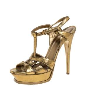 Saint Laurent Paris Metallic Gold Textured Leather Tribute Platform Sandals Size 40.5