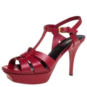 Saint Laurent Paris Red Leather Tribute Platform Sandals Size 38