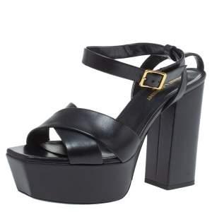 Saint Laurent Paris Black Leather Farrah Platform Ankle Strap Sandals Size 38
