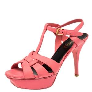 Saint Laurent Paris Coral Pink Leather Tribute Platform Ankle Strap Sandals Size 37
