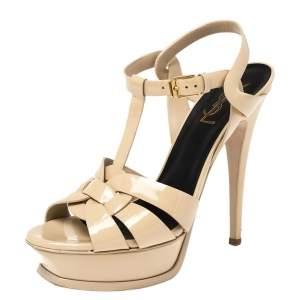 Saint Laurent Paris Beige Patent Leather Tribute Platform Sandals Size 37.5