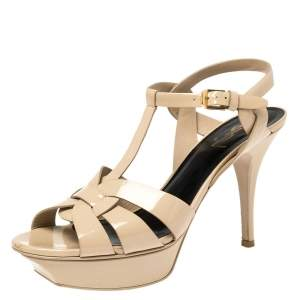Saint Laurent Paris Beige Patent Leather Tribute Platform Sandals Size 39.5
