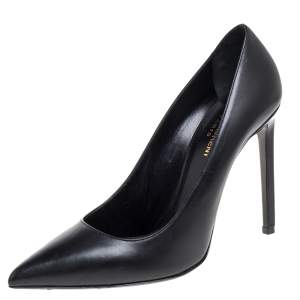 Saint Laurent Paris Black Leather Anja Pointed Toe Pumps Size 39