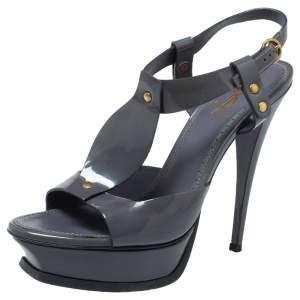 Saint Laurent Paris Grey Patent Leather Ankle Strap Sandals Size 41