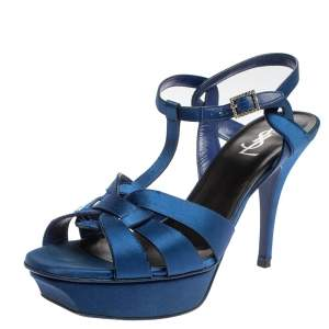 Saint Laurent Paris Blue Satin Tribute Ankle Strap Sandals Size 40
