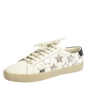 Saint Laurent White Leather Court Classic Star Sneakers Size 38