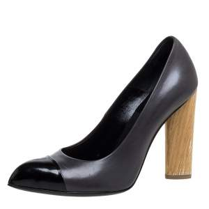 Saint Laurent Paris Black Leather Wood Heel Pointed Toe Pumps Size 37.5