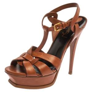 Saint Laurent Paris Brown Leather Tribute Sandals Size 36.5