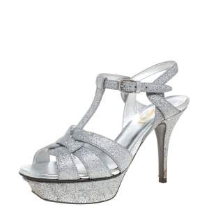 Saint Laurent Paris Silver Glitter Tribute Platform Sandals Size 35.5