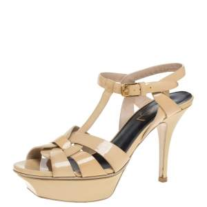 Saint Laurent Paris Beige Patent Leather Tribute Sandals Size 35.5