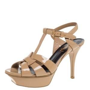 Saint Laurent Paris Beige Patent Leather Tribute Platform Sandals Size 35.5